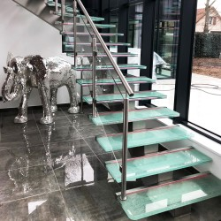 Glass and stainless steel design staircase