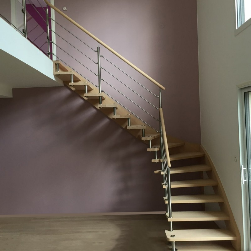 Contemporary Custom-made stair with stainless steel spacers