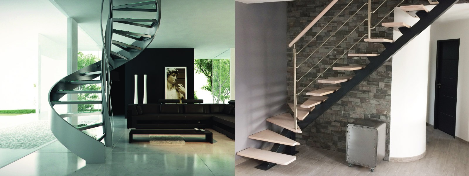 Metallic stairs and wooden stairs. Oeba is a manufacturer and installer of stairs in wood and steel.